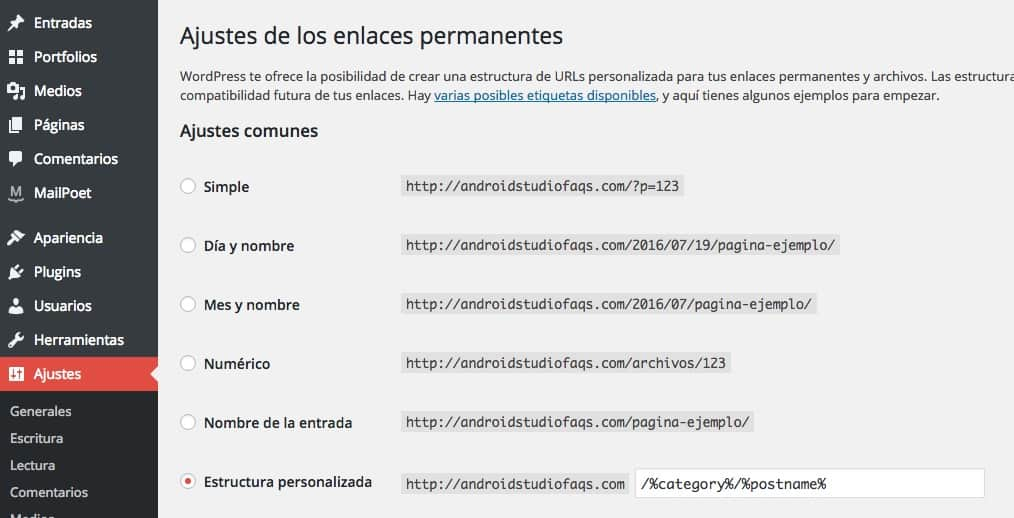 permalink en wordpress